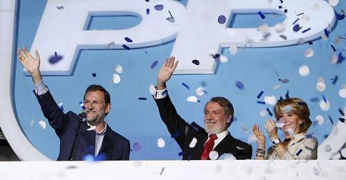 La cúpula del PP en la victoria de las elecciones europeas.