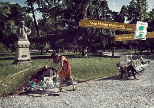 Debemos reciclar en los parques.